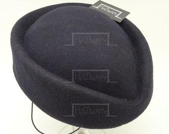 VINTAGE x ELEGANT Wool Felt Pillbox Hat -  Navy Blue