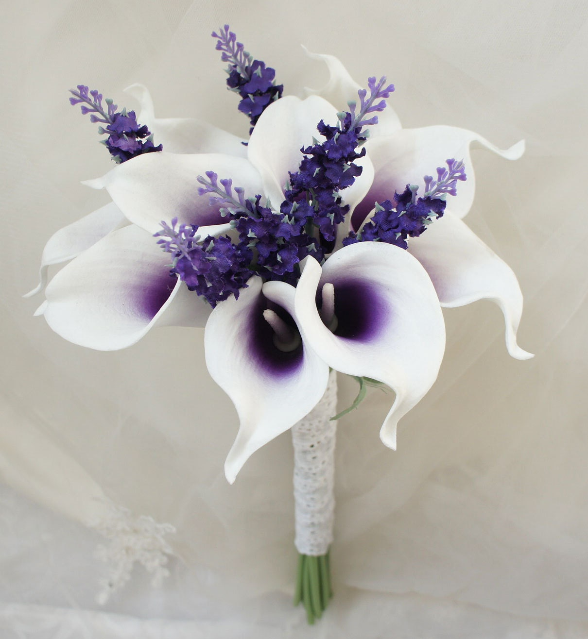 Lily Flower Wedding Bouquet: Arrangement Latex PU Calla Lily Real Touch 10 Stems Bouquet