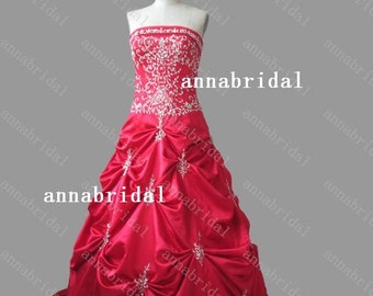 Line red wedding dresses silver e mbroidery beaded sequins bridal