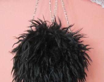 Girl's Faux Fur Purse in Black