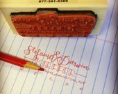 "Hand-lettered Return Address Stamp - 1.25""x3"" Laser cut Rubber Stamp with Wooden Handle"