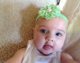 Newborn headband, Green chevron flower headband, Green Headband, Flower Headband, You Pick Headband Color,Headband Baby, Toddler headband