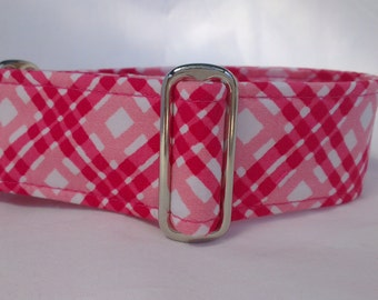 """Tag Collar - Whippet, and Small to Medium Dog - 1.5"""" width - Adjustable House Collar in Pink Plaid"""