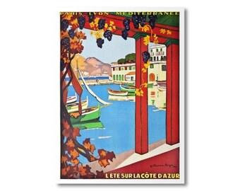 L'ete Sur La Cote d'Azur  Travel Poster - Poster Print, Sticker or Canvas Print