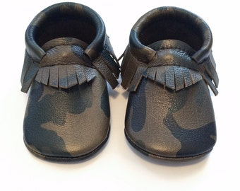 Baby Moccasins, Toddler Moccasins, Camo Leather Moccasins - Baby Boy Leather Shoes, Crib Moccasins