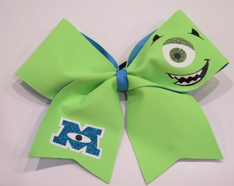 """3 inch width """"CHEER or TEXAS SIZE"""" Monsters Inc- Mike Wazowski Bow with Glow in the dark features"""