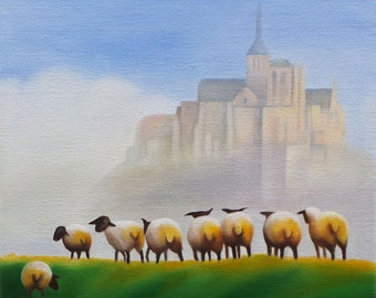 "The Sheep of Mont St. Michel, Oil on Gallery Wrapped Canvas, 12"" x 12"""