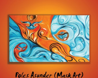 Orange Blue Turquoise Abstract Organic Original Oil Acryl Painting 55x31 inch Ready-to-hang Numbered prints are available