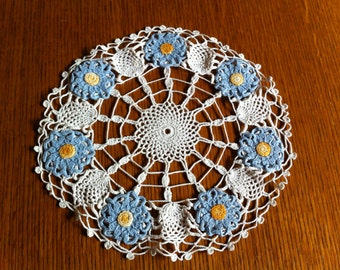 Vintage Handmade Doily - White with Blue Flowers