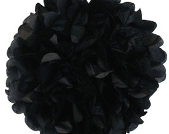 Tissue Paper Pom Pom 12inch Black TPP120080 Just Artifacts Brand