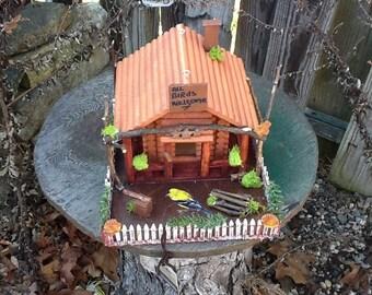 Beautiful Hand Made Wooden Log Cabin Bird Houses