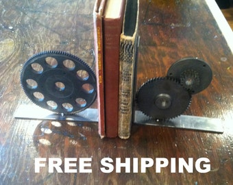 industrial gear bookends steampunk metal machinery bookend welded steel bookend FREE SHIPPING