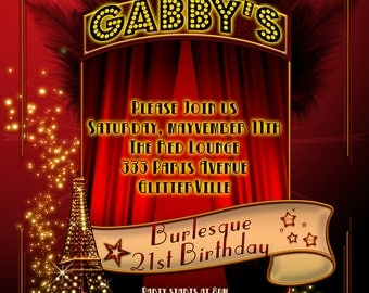 21st Birthday, burlesque birthday, burlesque party, adult party, 21 birthday invitations, burlesque party invitations