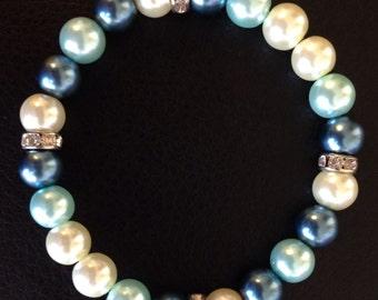 Women's, blue pearl bracelet.