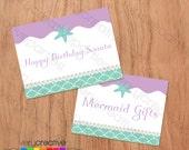 Mermaid Birthday Party Thank You Favor Tags - Digital PDF Download