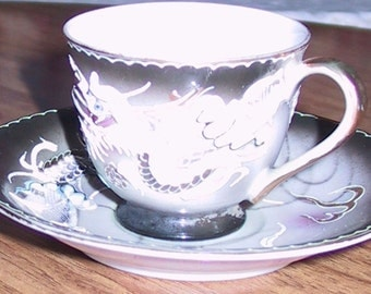 Vintage Fleetwood China Dragonware Cup and Saucer