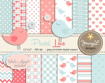 Pastel Valentine's Day Digital papers, Hearts Baby Shower, Baby Baptism, Nursery colors, Peach, Love Birds Clipart, Scrapbooking Paper