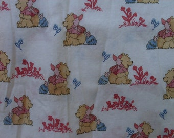 Pooh's Day in the Park with Piglet on White Fabric