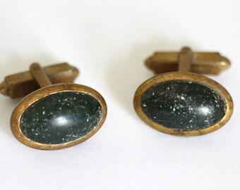 Black vintage cuff links, black studs, 1950ies jewellery, men's jewellery,