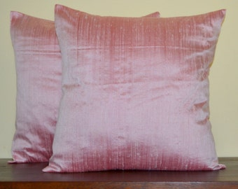 Baby pink  Dupioni pure silk cushion cover / sham 16 X 16 - code 166A