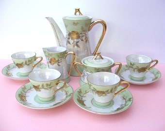 Vintage green and white  china coffee set