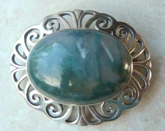 Vintage Sterling Silver Moss Agate Brooch.