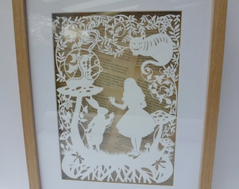 Hand Cut Alice in Wonderland Framed Papercut with Vintage Book Pages Background