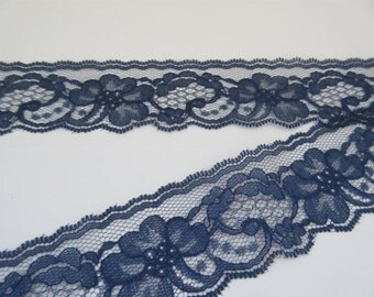 """Navy Blue Lace Trim Ribbon 2"""" inch wide Floral Lace Sewing Trim Flower Design Gift Wrap Gift Basket Wedding Lace Bridal Home Decor Wreath 85"""