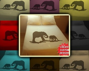 Mom Baby Elephant Bedding Duvet Cover Queen King Twin Size, Queen Bedding, King Bedding Twin, Kids Queen Duvet Cover, Linen Cotton Sheet Set