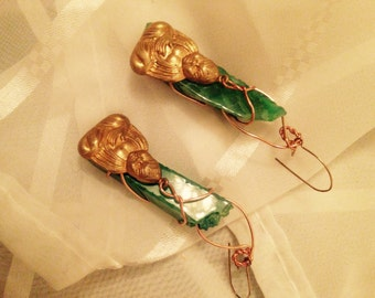 green agate stone earrings with Buhdda charms