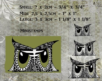 """Mini stamps """"SMALL"""",""""MIDI"""" and """"LARGE""""  owl on peg stamps."""