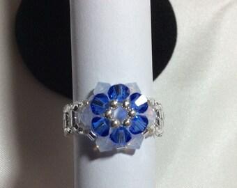 Swarovski blue flower ring