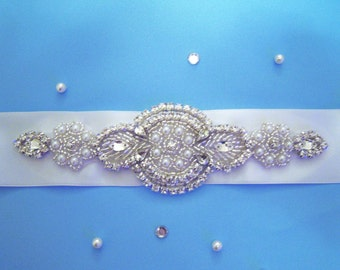 Ivory wedding dress sash belt with rhinestones and pearls bridal