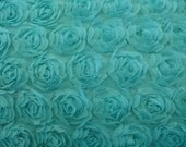Bolt Aquamarine Mesh Chiffon Rosette 100% Polyester Floral Fabric, 5 Yards