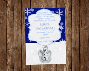 Want To Build A Snowman Olaf Birthday Invitation