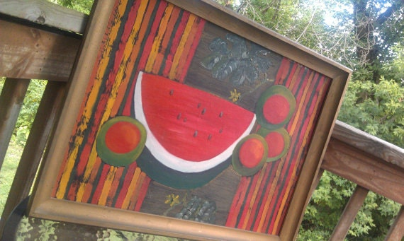 Vintage watermelon oil painting signed by artist roy hankis for Painting with a twist greenville sc