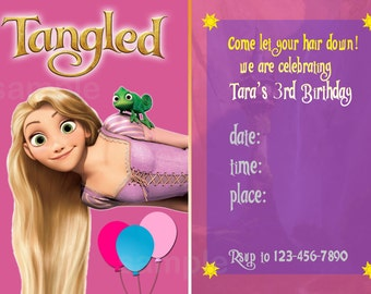 Personalized Tangled Birthday Invitation Rapunzel - Print Your Own