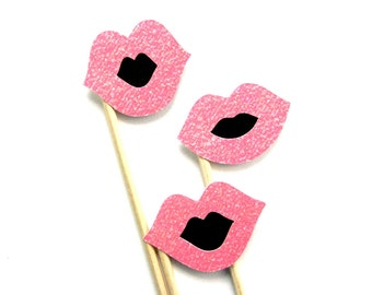 Lip Photo Booth Props - Pink and Black - Glitter