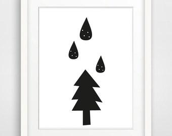 Printable Nursery Art Print Raindrops Print Black White Nursery Print Minimalist Print Instant Download Art Modern Woodland Scandinavia Art
