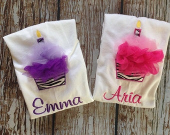 Custom embroidered tulle cupcake personalized birthday shirt