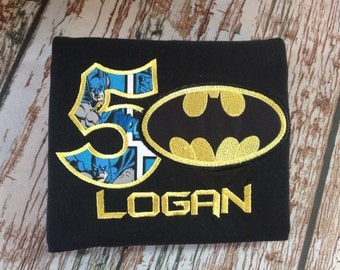 Custom embroidered batman inspired birthday shirt