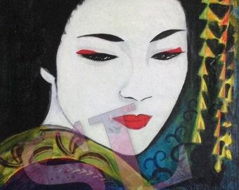 Sadayakko ~ Print from original multi-media painting by Samantha Louise