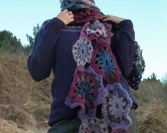 Crocheted wool rich free-form scarf