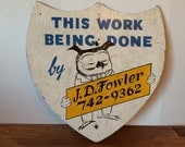 Vintage Owl Badge Sign Wood Wooden Hand Painted Handpainted Construction Building Builder Folk Art Signage Paint White Blue Yellow Fowler