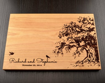 Personalized Chopping Block Tree, Valentines Day Gift, Custom Wedding Gift, Engagement Gift, Engraved Wooden Cutting Board, Hostess Gift