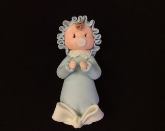 Cold Porcelain Cake Topper, Baby with Gown, Decoration, Favor, Baby Shower, Diaper