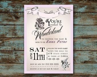 Alice In Wonderland Baby Shower, New Baby Invitation