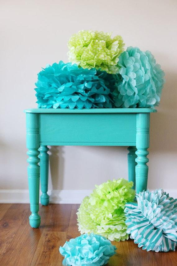 3 large tissue paper pom poms set wedding decorations birthday favor tissue pom pom from. Black Bedroom Furniture Sets. Home Design Ideas