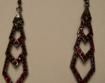 Black and Red Dangle Earrings