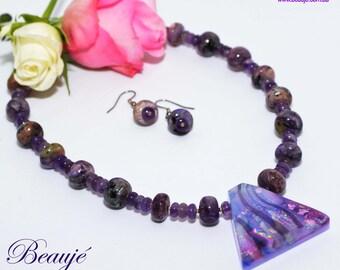 Purple necklace Dichroic pendant Gemstone Jewellery Semi precious Unique Beaded Necklace Glass Jewellery Handmade Beauje Sterling silver